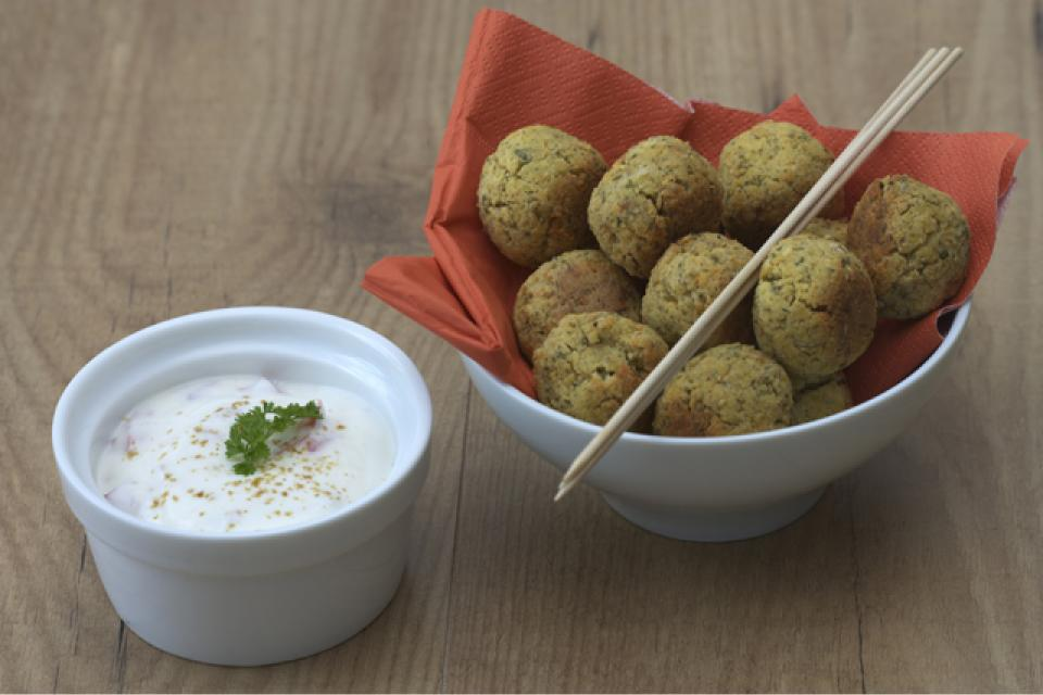 Mini Falafel with Yoghurt and Cucumber Dip