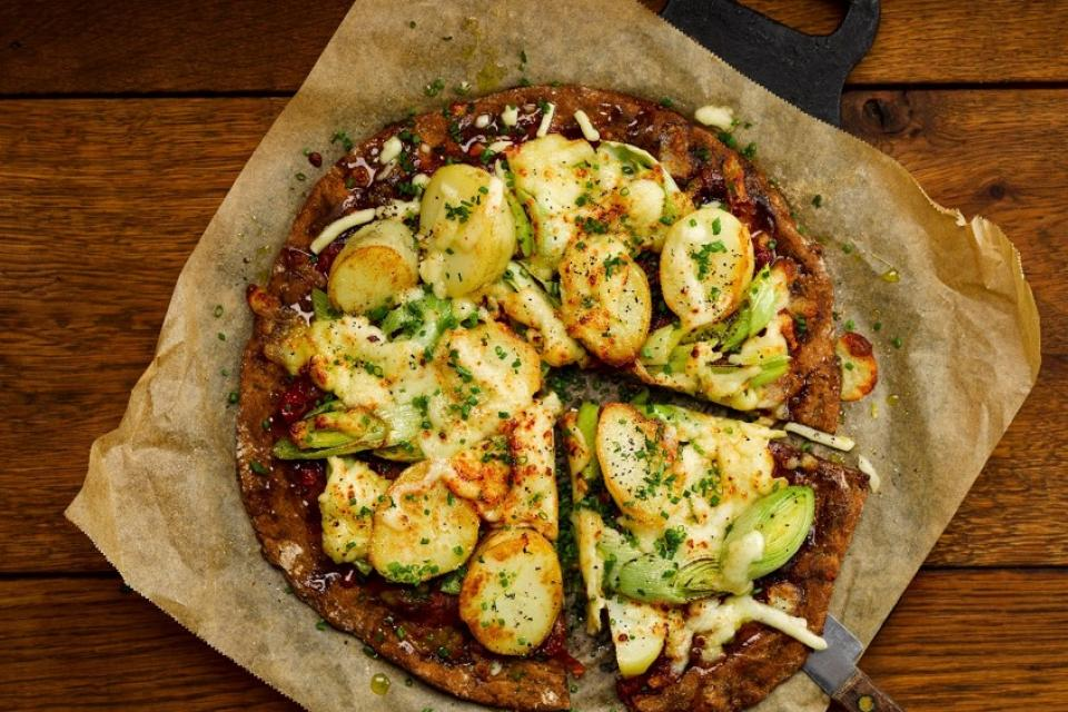 Leftover Leek and Potato Pizza