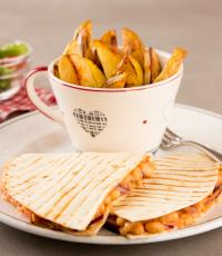 Refried Baked Bean Quesadillas