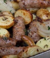 Sausage, Onion and Potato Tray Bake from Love Food Hate Waste