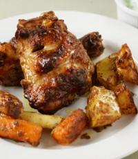Tandoori roast chicken and vegetables